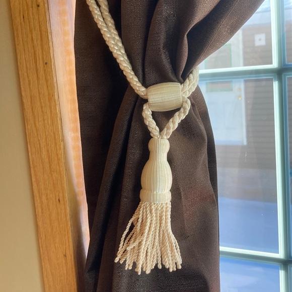 Curtain Ivory tie backs vintage